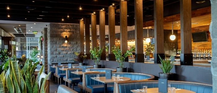 Beautiful interior of a restaurant with booths
