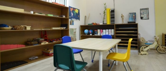 daycare center interior with table