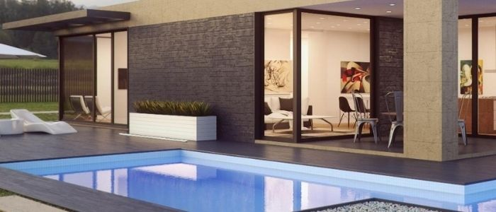 House exterior with modern pool